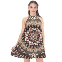 Seamless Pattern Floral Flower Halter Neckline Chiffon Dress