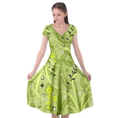 Seamless Pattern Green Garden Cap Sleeve Wrap Front Dress by Pakrebo