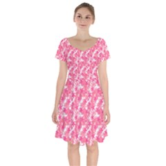 Phlox Spring April May Pink Short Sleeve Bardot Dress