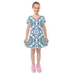 Tile Vintage Pattern Design Kids  Short Sleeve Velvet Dress