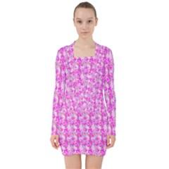 Maple Leaf Plant Seamless Pattern V Neck Bodycon Long Sleeve Dress