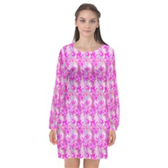 Maple Leaf Plant Seamless Pattern Long Sleeve Chiffon Shift Dress