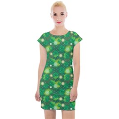 Leaf Clover Star Glitter Seamless Cap Sleeve Bodycon Dress by Pakrebo