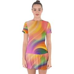 Wave Watercolor Watercolour Drop Hem Mini Chiffon Dress by Pakrebo