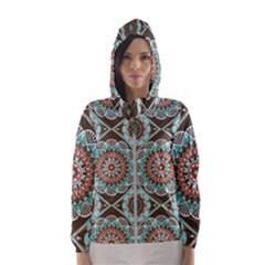 Seamless Pattern Colorful Wallpaper Women s Hooded Windbreaker by Pakrebo