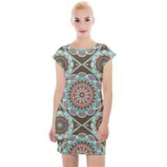 Seamless Pattern Colorful Wallpaper Cap Sleeve Bodycon Dress by Pakrebo