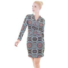 Seamless Pattern Colorful Wallpaper Button Long Sleeve Dress by Pakrebo