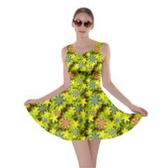 Flowers Yellow Red Blue Seamless Skater Dress
