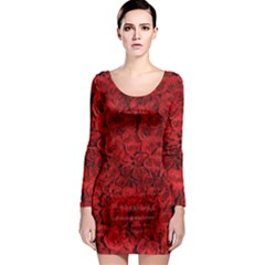 Rose Roses Flowers Red Valentine Long Sleeve Bodycon Dress