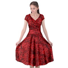 Rose Roses Flowers Red Valentine Cap Sleeve Wrap Front Dress