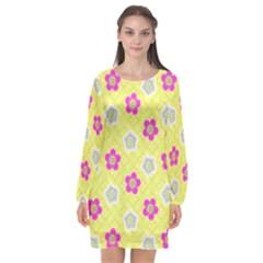 Traditional Patterns Plum Long Sleeve Chiffon Shift Dress