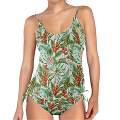 Green Leaves And Red Flowers Tankini Set by goljakoff