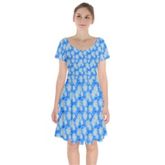 Hydrangea Blue Glitter Round Short Sleeve Bardot Dress