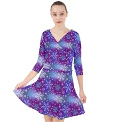 Snow White Blue Purple Tulip Quarter Sleeve Front Wrap Dress