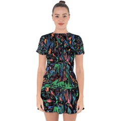 Tree Forest Abstract Forrest Drop Hem Mini Chiffon Dress by Pakrebo