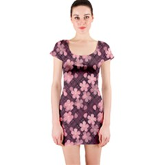 Cherry Blossoms Japanese Style Pink Short Sleeve Bodycon Dress
