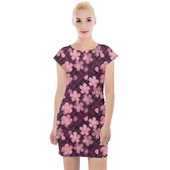 Cherry Blossoms Japanese Style Pink Cap Sleeve Bodycon Dress by Pakrebo