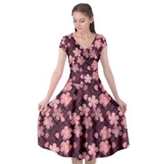Cherry Blossoms Japanese Style Pink Cap Sleeve Wrap Front Dress