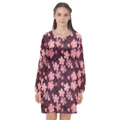 Cherry Blossoms Japanese Style Pink Long Sleeve Chiffon Shift Dress