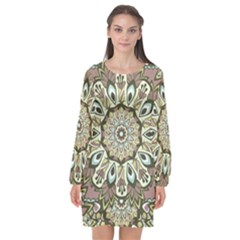 Seamless Pattern Abstract Mandala Long Sleeve Chiffon Shift Dress