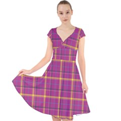 Plaid Tartan Background Wallpaper Cap Sleeve Front Wrap Midi Dress by Pakrebo