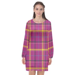 Plaid Tartan Background Wallpaper Long Sleeve Chiffon Shift Dress