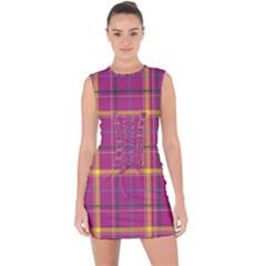 Plaid Tartan Background Wallpaper Lace Up Front Bodycon Dress by Pakrebo
