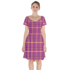 Plaid Tartan Background Wallpaper Short Sleeve Bardot Dress by Pakrebo