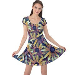 Spring Floral Black Eyed Susan Cap Sleeve Dress by Pakrebo