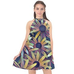 Spring Floral Black Eyed Susan Halter Neckline Chiffon Dress  by Pakrebo