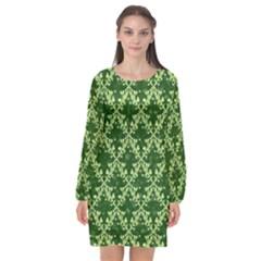 White Flowers Green Damask Long Sleeve Chiffon Shift Dress