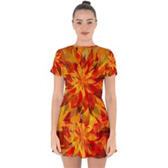 Flower Blossom Red Orange Abstract Drop Hem Mini Chiffon Dress by Pakrebo