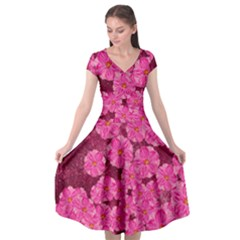 Cherry Blossoms Floral Design Cap Sleeve Wrap Front Dress