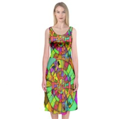 Color Abstract Rings Circle Center Midi Sleeveless Dress