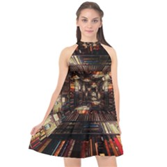 Library Tunnel Books Stacks Halter Neckline Chiffon Dress  by Pakrebo