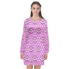 Paulownia Flowers Japanese Style Long Sleeve Chiffon Shift Dress