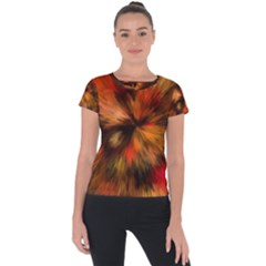 Color Background Structure Lines Short Sleeve Sports Top  by Pakrebo