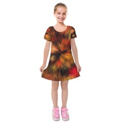 Color Background Structure Lines Kids  Short Sleeve Velvet Dress