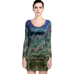 Peacock Feathers Colorful Feather Long Sleeve Bodycon Dress
