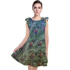 Peacock Feathers Colorful Feather Tie Up Tunic Dress by Pakrebo