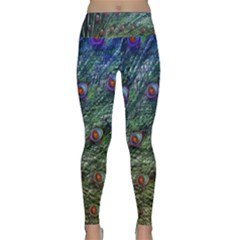 Peacock Feathers Colorful Feather Lightweight Velour Classic Yoga Leggings by Pakrebo