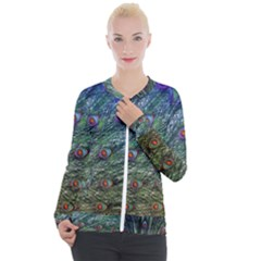 Peacock Feathers Colorful Feather Casual Zip Up Jacket by Pakrebo
