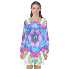 Lotus Flower Bird Metatron S Cube Long Sleeve Chiffon Shift Dress