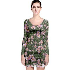 Pink Flowers Leaves Spring Garden Long Sleeve Bodycon Dress