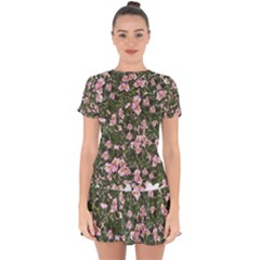 Pink Flowers Leaves Spring Garden Drop Hem Mini Chiffon Dress