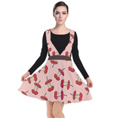 Red Apple Core Funny Retro Pattern Half Eaten On Pastel Orange Background Plunge Pinafore Dress by genx