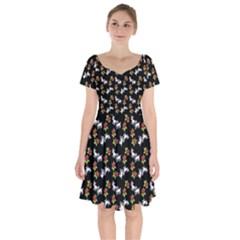 Lamb Pattern Black Short Sleeve Bardot Dress by snowwhitegirl