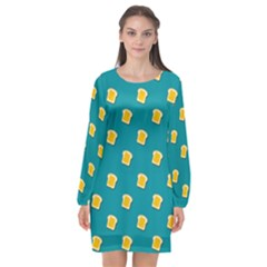 Toast With Cheese Funny Retro Pattern Turquoise Green Background Long Sleeve Chiffon Shift Dress  by genx