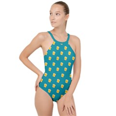Toast With Cheese Funny Retro Pattern Turquoise Green Background High Neck One Piece Swimsuit by genx