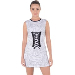 Organic Olive Leaves Pattern Hand Drawn Black And White Lace Up Front Bodycon Dress by genx